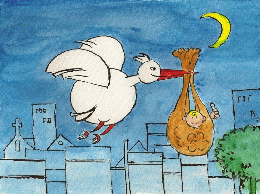 Télécharger gratuitement cette image d'une aquarelle de cigogne et