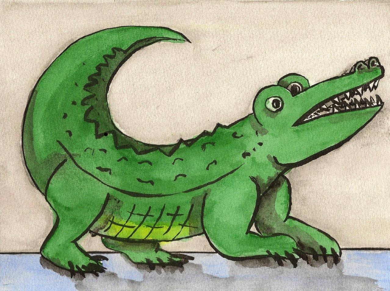 Cliparts gratuits crocodile dessin d 39 un crocodile la queue montante - Dessin anime de crocodile ...