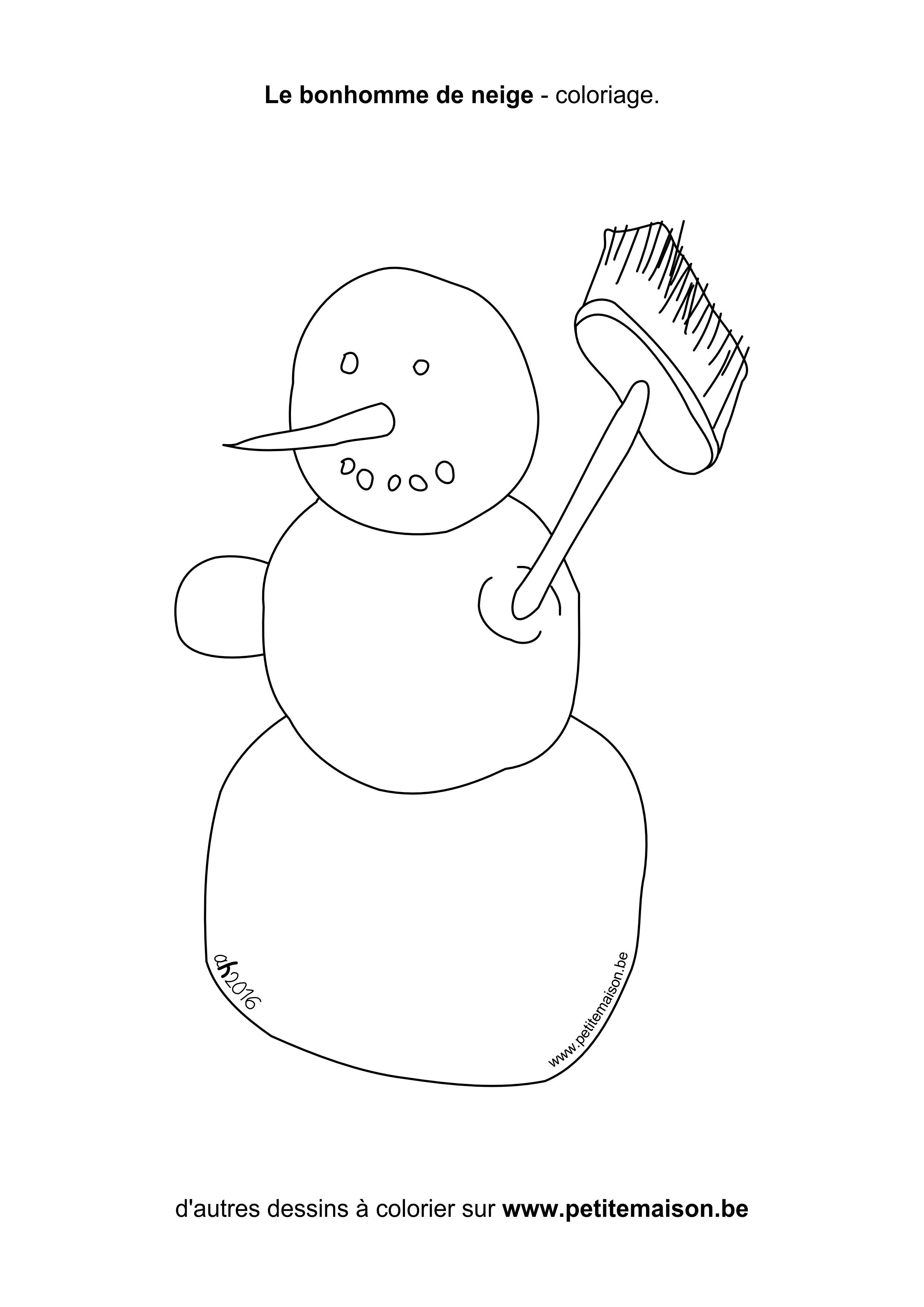 Belle bonhomme de neige simple coloriage - Dessin bonhomme a colorier ...